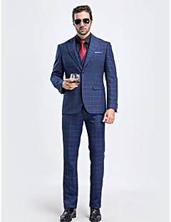 2017 королевский синий клетчатый однобортный две кнопки закрытия воротник полиэстер / искусственный шелк пригонки костюм