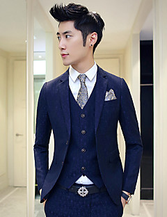 Suits Standard Fit Notch Single Breasted Two-buttons Cotton Solid 3 Pieces Straight Flapped None (Flat Front)Blue / Hot