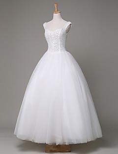 볼 드레스 웨딩 드레스 발목 길이 스트랩 튤 / 스팽글 와 비즈