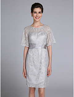 Lanting Bride® Trumpet / Mermaid Mother of the Bride Dress Knee-length Half Sleeve Lace with Crystal Detailing
