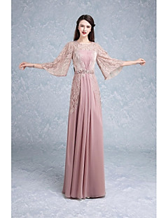 Formal Evening Dress Trumpet / Mermaid Jewel Floor-length Lace with Beading / Draping