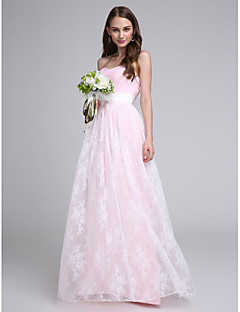 Lanting Bride® Floor-length Lace / Tulle Bridesmaid Dress Sheath / Column Strapless with Lace / Sash / Ribbon / Criss Cross