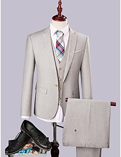 Gray  Polyester/Rayon(T/R)  Single Breasted On Slim Fit Three-Piece  Suit