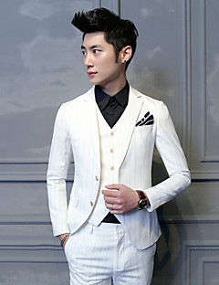 Suits Slim Fit Notch Single Breasted Two-buttons Cotton Blend Stripes 3 Pieces White Straight Flapped None WhiteNone