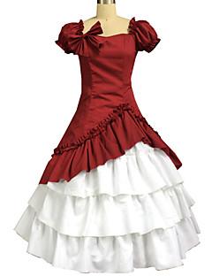 One-Piece/Dress Classic/Traditional Lolita Lolita Cosplay Lolita Dress Solid Short Sleeve Long Length Skirt Dress Bow For Cotton