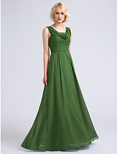 LAN TING BRIDE Floor-length Cowl Bridesmaid Dress - Open Back Sleeveless Chiffon