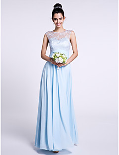 2017 Lanting Bride® Ankle-length Chiffon / Lace Bridesmaid Dress - Sheath / Column Bateau with Lace