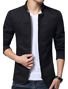 Men's Long Sleeve Casual / Work / Formal / Plus Sizes Jacket,Cotton / Polyester Solid Black / Blue / Yellow
