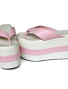 Punk Lolita Leather 12 Wedge Pink Lolita Female Shoes Slippers