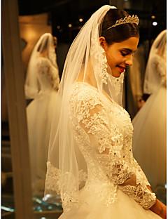 Voal de Nuntă Un nivel Voaluri Lungi Până la Cot Margine cu Aplicație de Dantelă Tul / Dantelă Ivoriu