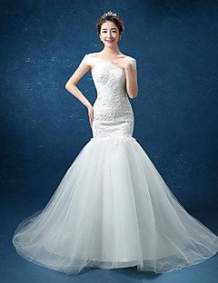 Trumpet / Mermaid Wedding Dress See-Through Sweep / Brush Train Straps Lace Tulle with Bow Lace Pearl