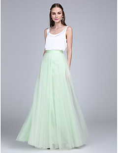 Lanting Bride® Floor-length Tulle / Satin Chiffon Bridesmaid Dress - Two Pieces Sheath / Column Scoop with Buttons