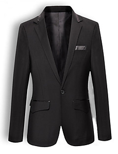 Suits Slim Fit Notch Single Breasted One-button Cotton Solid 2 Pieces Black Slanted Flapped None (Flat Front) Black None (Flat Front)