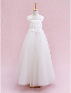 Lanting Bride Ball Gown Ankle-length Flower Girl Dress - Tulle Sleeveless Straps with Flower(s) / Bandage