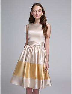 2017 Lanting vestido bride® altura do joelho cetim stretch dama de honra - bateau uma linha com faixa