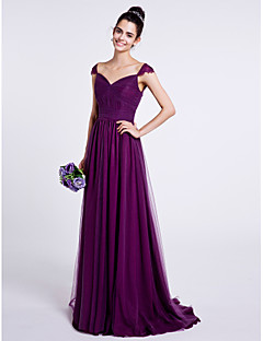 Lanting Bride® Sweep / Brush Train Tulle Bridesmaid Dress A-line Sweetheart with Draping / Ruching