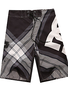 Men's Striped / Plaids / Patchwork Casual Shorts,Polyester Black / Blue