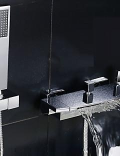 Modern Bad en douche Waterval Wide spary with  Keramische ventiel Twee handgrepen twee gaten for  Chroom , Douchekraan Badkraan