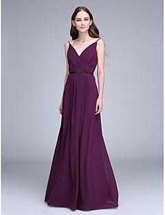 2017 Lanting vestido longo bride® chiffon dama de honra - alças finas com beading