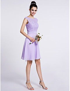 2017 Lanting Bride® Knee-length Chiffon / Lace Bridesmaid Dress - A-line Scoop with Lace