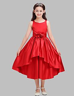 גזרת A באורך הקרסול שמלה לנערת הפרחים - כותנה / סאטן ללא שרוולים רצועות עם