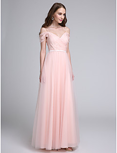 Lanting Bride®Floor-length Lace / Tulle Bridesmaid Dress A-line Spaghetti Straps with Lace / Sash / Ribbon