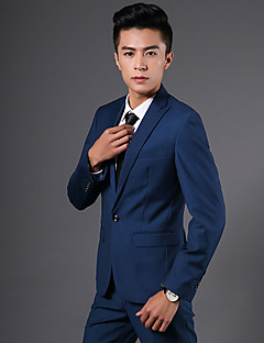 Suits Slim Fit Notch Single Breasted One-button Lycra Solid 2 Pieces Blue Slanted Piped None None Pockets