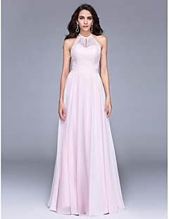 2017 TS Couture® Formal Evening Dress A-line Jewel Floor-length Chiffon / Lace with Lace / Ruching