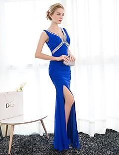 Formeller Abend Kleid Trompete / Meerjungfrau V-Ausschnitt Boden-Länge Chiffon mit Kristall Verzierung
