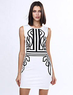סתיו / חורף כותנה / אחרים לבן ללא שרוולים עד הברך צווארון עגול דפוס מועדונים / מידות גדולות שמלה נשים