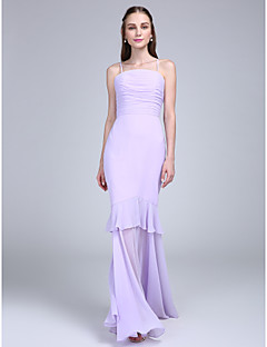 Lanting Bride® Floor-length Chiffon Bridesmaid Dress Fit & Flare Spaghetti Straps with Tiers / Ruching