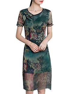 Chiffong Klänning Vintage / Kineseri Ledigt/vardag / Plusstorlek Kvinnors,Tryck Rund hals Knälång Kortärmad Grön Polyester Sommar
