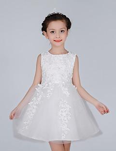 גזרת A באורך  הברך שמלה לנערת הפרחים - כותנה / תחרה / סאטן / טול ללא שרוולים עם תכשיטים עם