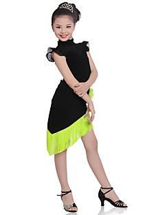 My, dzieci bawić się prążkowane bawełniane (y) 2 sztuki krótki rękaw naturalny top / spódnica taniec latynoski