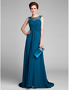 Lanting Bride Sheath / Column Mother of the Bride Dress Sweep / Brush Train Sleeveless Chiffon with Beading / Criss Cross