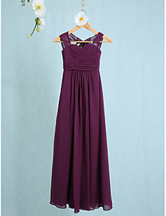 Lanting Bride® Ankle-length Chiffon Junior Bridesmaid Dress Sheath / Column Straps with Ruching