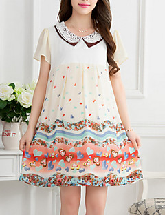 Crew Neck Bow Maternity Dress,Cotton / Polyester Above Knee Short Sleeve