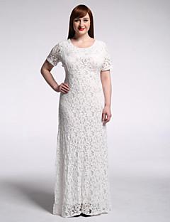 Women's Beach / Plus Size Boho Trumpet/Mermaid Dress,Polka Dot Asymmetrical Maxi Short Sleeve White / Black Spandex Summer