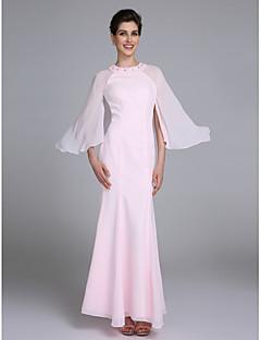LAN TING BRIDE Havfrue Kjole til brudens mor - Elegant Ankellang Langermet Chiffon - Perler