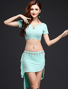 Belly Dance Outfits Women's Performance Modal Draped 2 Pieces Green / Pink / Light Gray / Coffee Short Sleeve