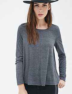 T-shirt Da donna Casual Moda città Estate,Tinta unita Girocollo Cotone / Poliestere Grigio Manica lunga Opaco
