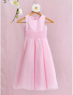 A-line Ankle-length Flower Girl Dress - Organza / Satin Sleeveless Jewel with Bow(s) / Ruching