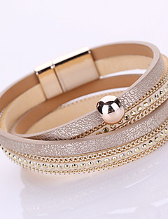 Damen Ketten- & Glieder-Armbänder Wickelarmbänder Modisch Handgemacht Mehrlagig Modeschmuck Leder Strass Diamantimitate Aleación