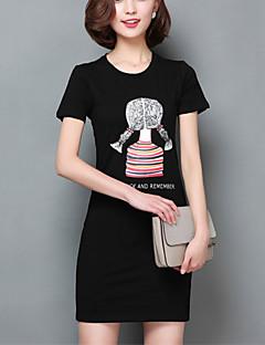 Vrouwen Grote maten / Schattig Zomer T-shirt,Casual/Dagelijks Print Ronde hals Korte mouw Wit / Zwart Katoen Dun