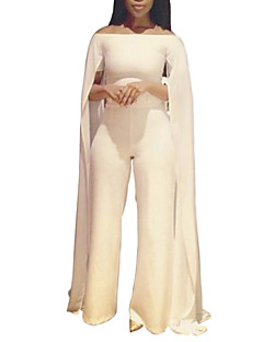 Women's Solid White Jumpsuits,Sexy Boat Neck Short Sleeve