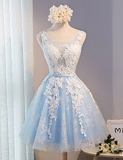 Short / Mini Lace Bridesmaid Dress - A-line Scoop with Lace / Sash / Ribbon