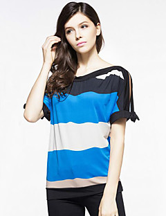 Women's Going out Plus Size / Street chic Loose Color Block Summer T-shirt,Striped Round Neck Batwing Short Sleeve