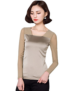 Women's Going out Street chic Fall / Winter,Solid Square Neck Long SleeveBlouse