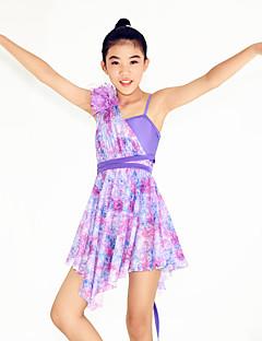 Dança Latina Vestidos Mulheres / Crianças Actuação Náilon Chinês / Elastano Pano / Flor(es) / Padrão/Estampado 2 Peças Sem Mangas Natural