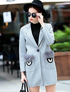 Frauen Vintage Mantel, feste Kerbe Revers lange Ärmel Winter grauer Wolle undurchsichtigen Ausgehen